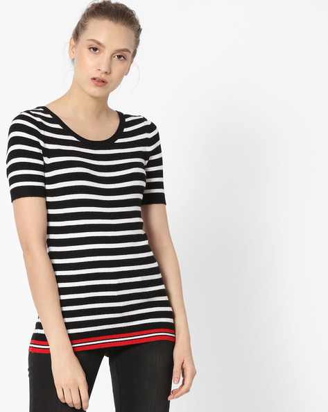 Striped Knitted Top By Fame Forever By Lifestyle ( Black )
