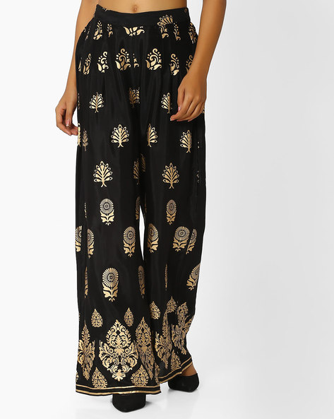 Printed Palazzos With Elasticated Waistband By Indian Ink ( Black )