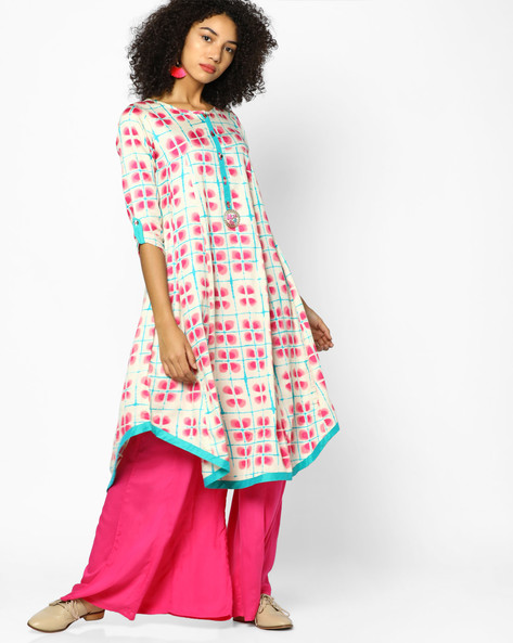 Printed Kurta With Curved Hemline By Indian Ink ( Pink )