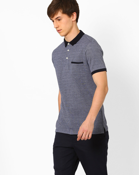 Pattern Weave Polo T-shirt By NETPLAY ( Navy )