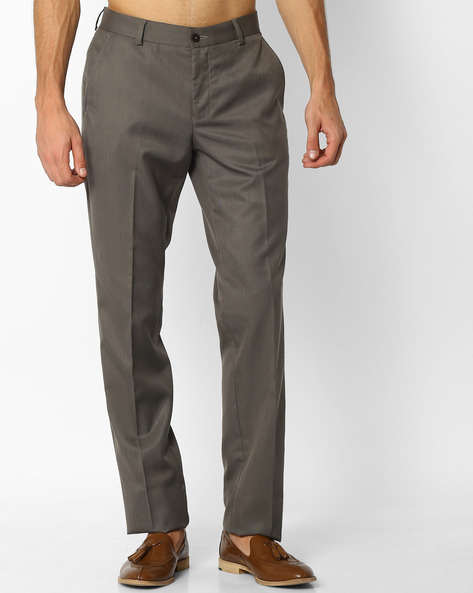 Flat-Front Slim Fit Trousers By NETWORK ( Brown )