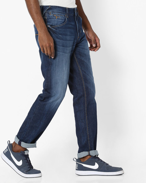 Prince Lightly Washed Slim Straight Jeans By FLYING MACHINE ( Blue )