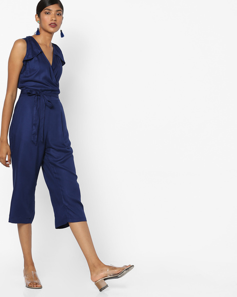 Jumpsuit With Belt By AJIO ( Navyblue )