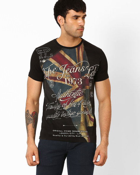 Slim Fit Graphic T-shirt By Pepe Jeans ( Black )