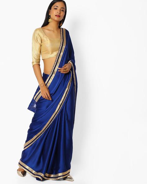 Chiffon Saree With Zari Border By Majestic Silk ( Blue )