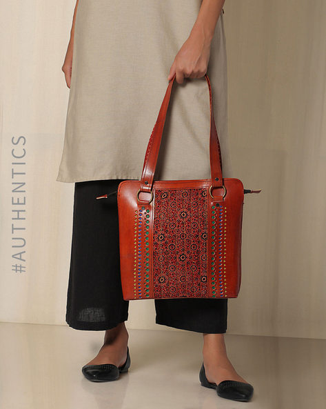 Kutch Cutwork Ajrak Leather Handbag By Indie Picks ( Brown ) - 460033206001