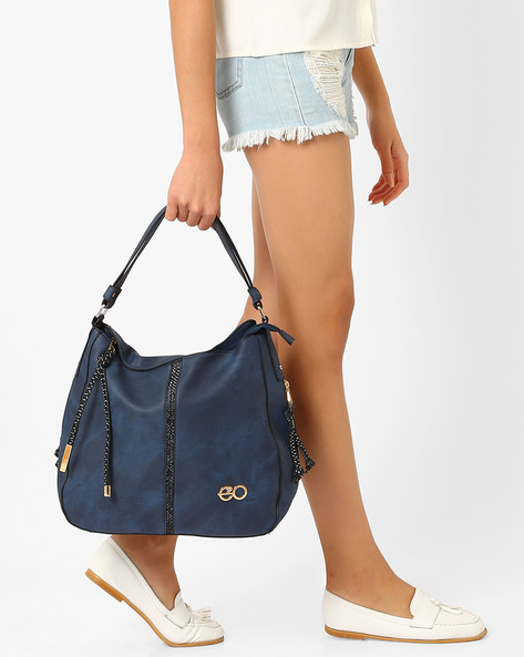Hobo Bag With Zip Pullers By E2O ( Blue )