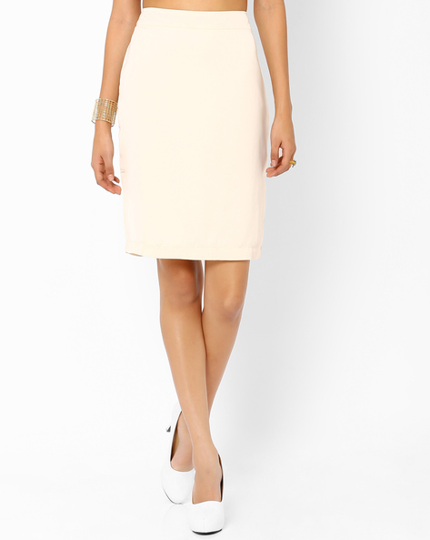 Pencil Skirt With Back Slit By AJIO ( Beige )