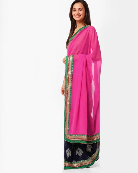 Half & Half Chiffon Saree By Florence ( Pink )