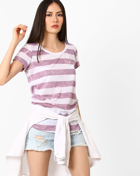 Striped T-shirt With Curved Hemline By Fame Forever ( Lightred )