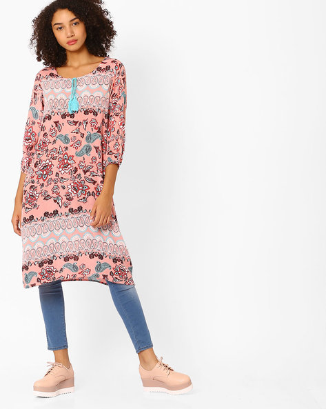 Printed Kurta With Tie-Up By Melange By Lifestyle ( Pink )