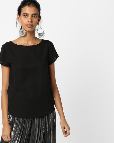 Top With High-Low Curved Hemline By UNITED COLORS OF BENETTON ( Black )