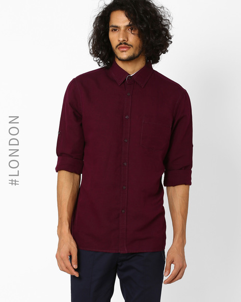 Linen Shirt With Patch Pocket By Marks & Spencer ( Purple )
