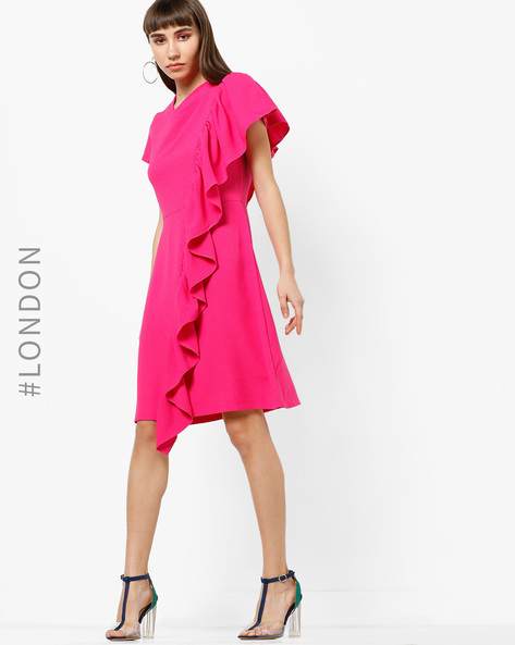 A-line Dress With Asymmetrical Ruffle Panel By Closet London ( Pink )