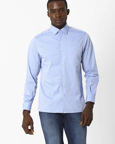 Dobby Slim Fit Shirt By JOHN PLAYERS ( Blue )