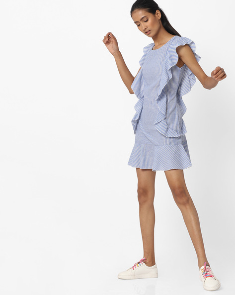 Striped Shift Dress With Ruffles By Ginger By Lifestyle ( Blue )