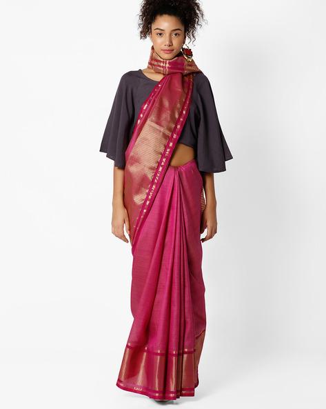 Tussar Silk Saree By Amori ( Purple )