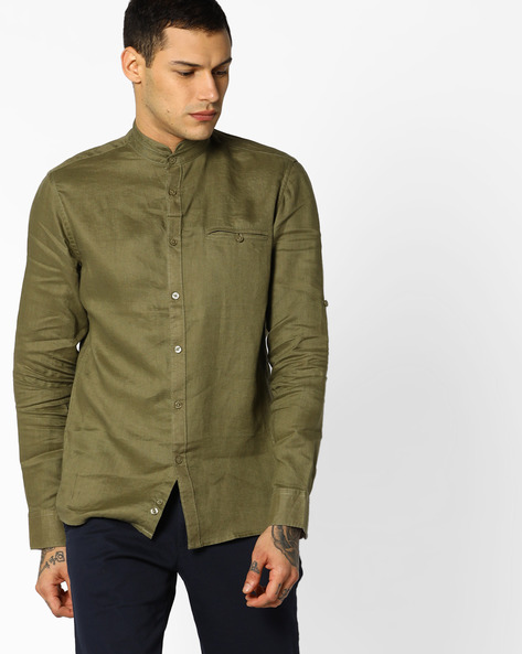 Linen Shirt With Band Collar By Celio ( Lime )