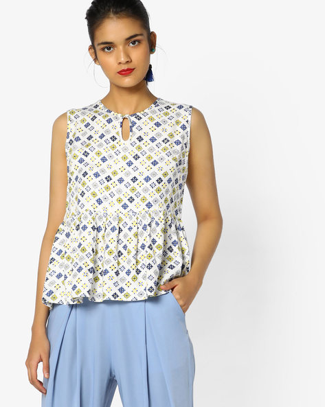 Printed Sleeveless Peplum Top By PE WW Casual ( Blue )