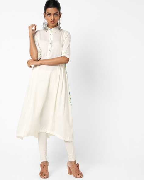Flared Kurta With Printed Tie-Up By KIRA ( Offwhite )