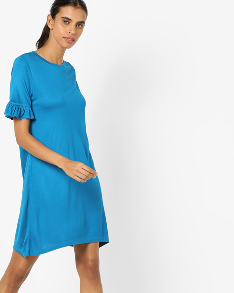 A-line Dress With Ruffled Sleeve Hems By AJIO ( Navy )