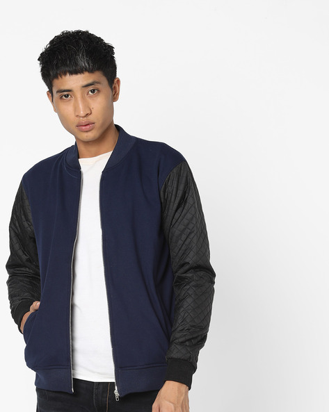 Bomber Jacket With Quilted Sleeves By Campus Sutra ( Blue )