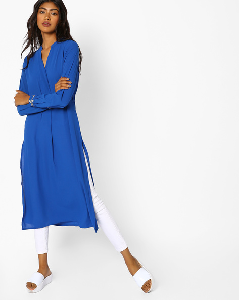Straight Tunic With Embroidered Sleeve Hems By COLOUR ME ( Blue )