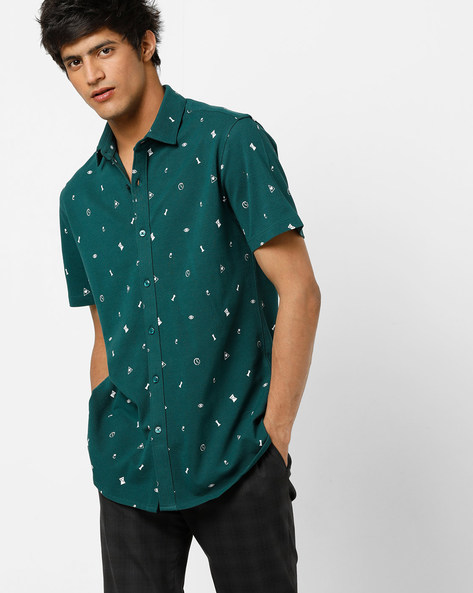 Geometric Print Pique Knit Shirt With Spread Collar By AJIO ( Green )