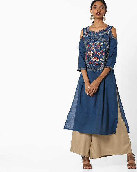 Floral Embroidered Kurta With Cold-Shoulder Sleeves By Melange By Lifestyle ( Blue )