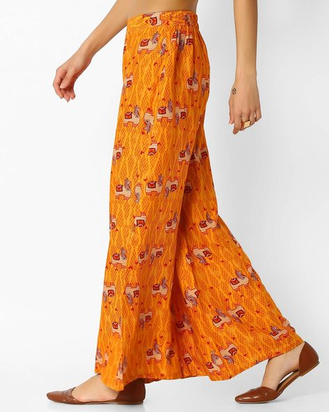 Printed Palazzos With Semi-Elasticated Waistband By Global Desi ( Mustard )