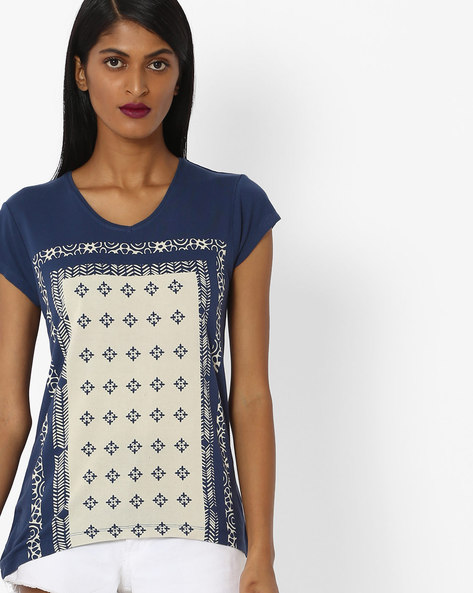 Printed T-shirt With High-Low Hem By Amari West ( Blue )
