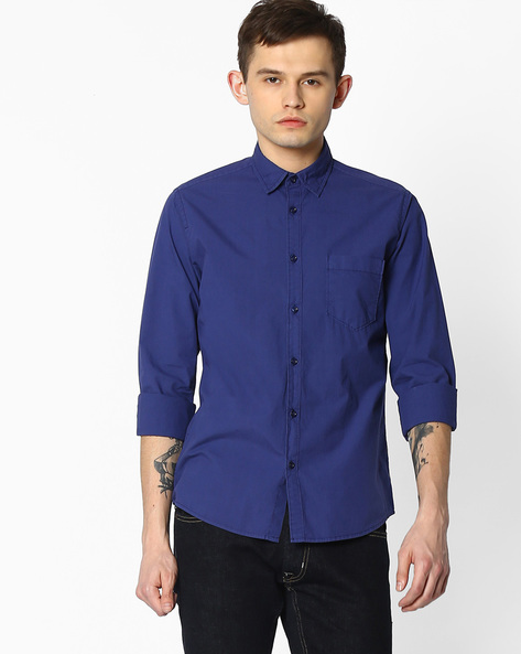 Slim Fit Shirt With Patch Pocket By Pepe Jeans ( Blue )
