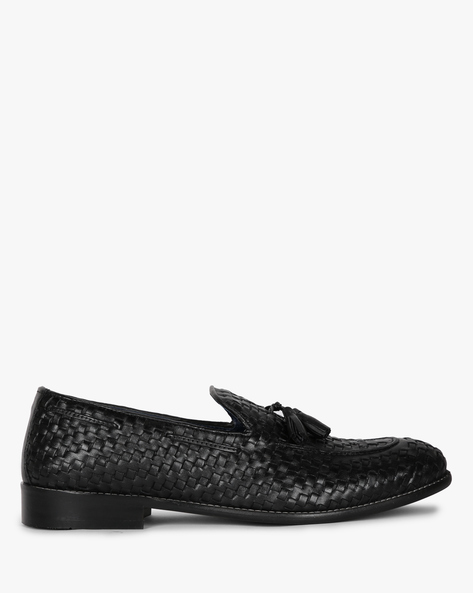 Genuine Leather Loafers With Tassels By Hats Off Accessories ( Charcoalblack )