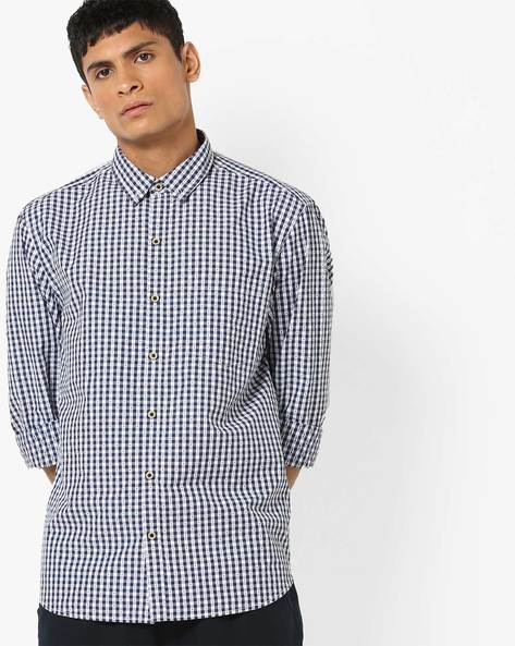 Checked Shirt With Button-Down Collar By JOHN PLAYERS ( Blue )