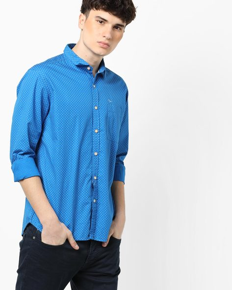 Printed Shirt With Patch Pockets By FLYING MACHINE ( Blue )