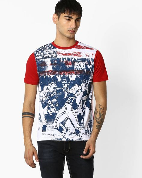Regular Fit Graphic Print T-shirt By TEAM SPIRIT ( Red )