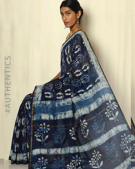 Handblock Print Indigo Chanderi Saree With Zari Border By Indie Picks ( Indigo ) - 460053730001