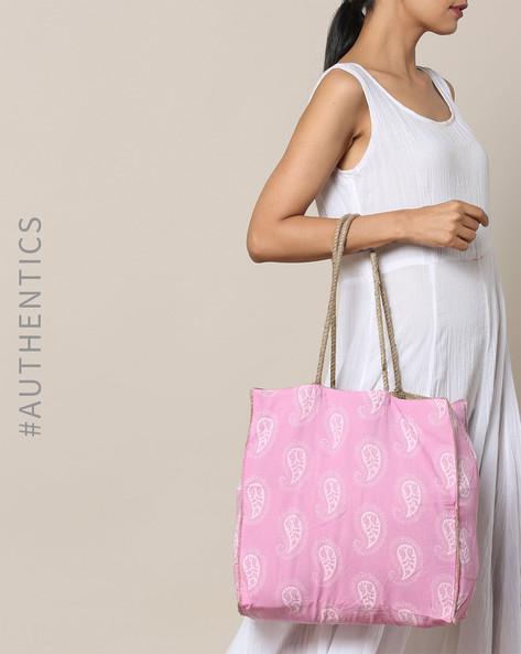 Sanganeri Handblock Print Cotton Jute Tote Bag By Awdhesh Kumar ( Pink )