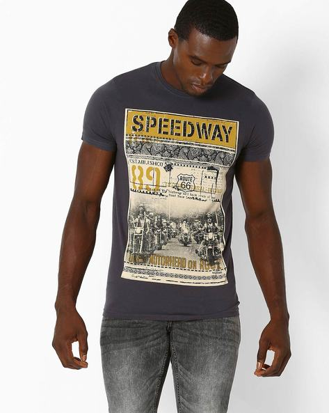 Graphic Print Slim Crew-Neck T-shirt By Killer ( Assorted )