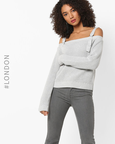 Full Sleeves Knitted Top By Glamorous ( Lightgrey )