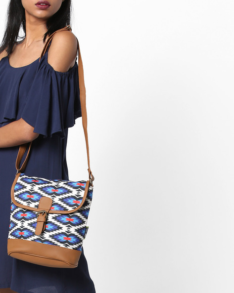 Printed Sling Bag By Kanvas Katha ( Tan ) - 460124241001