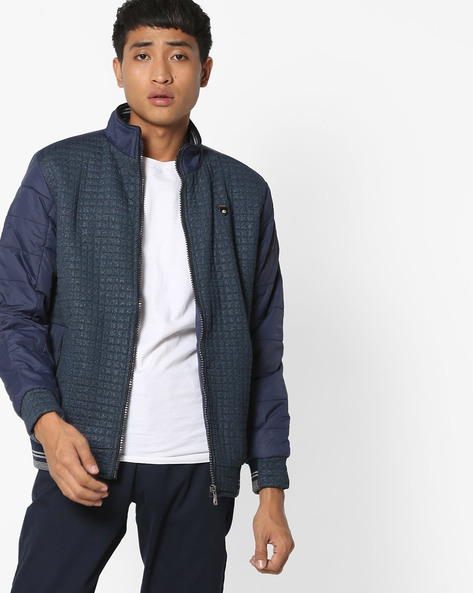 Textured Jacket With Quilted Sleeves By Fort Collins ( Navy )