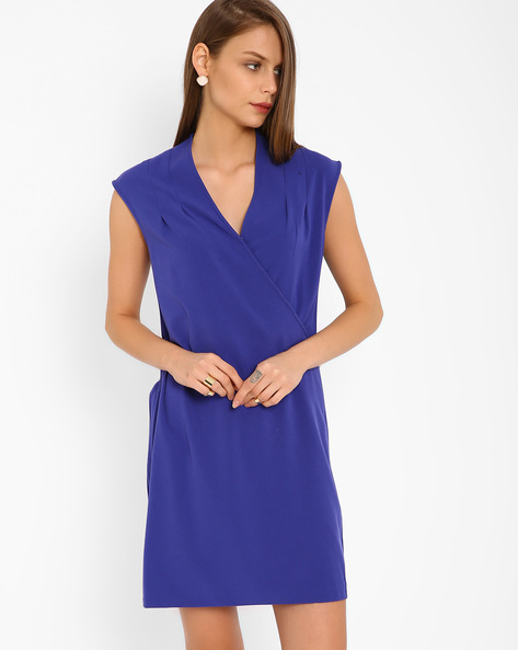 Overlap V-neck Dress By AJIO ( Purple )