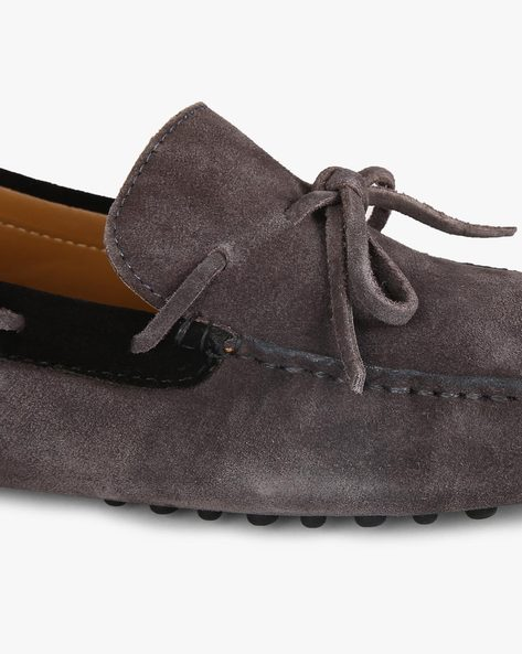 Suede Loafers With Bow Detail By Piaffe ( Darkgrey )