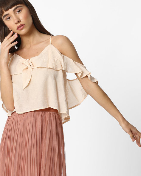 Strappy Cold-Shoulder Top By Ginger By Lifestyle ( Pink )