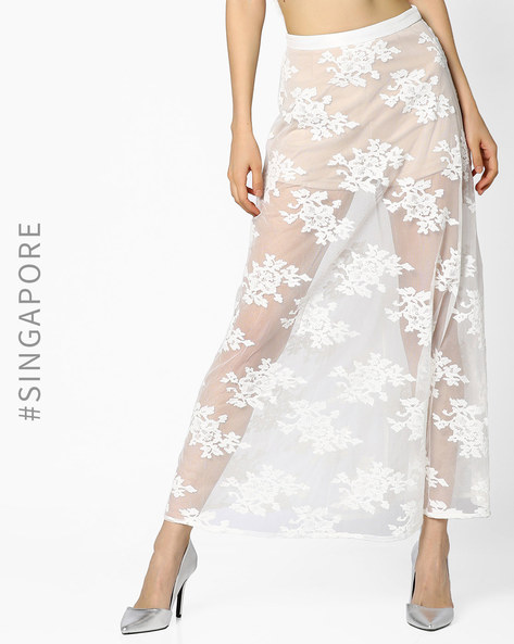 Embroidered Maxi Skirt With Attached Shorts By MDS ( White )