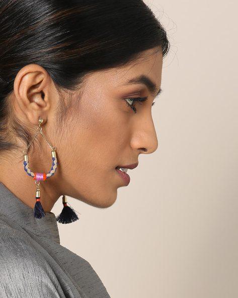 Metal Drop Earrings With Tassels By Indie Picks ( Blue )