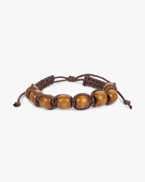 Beaded Bracelet With Knot Tie-Up By ALPHA MAN ( Brown )