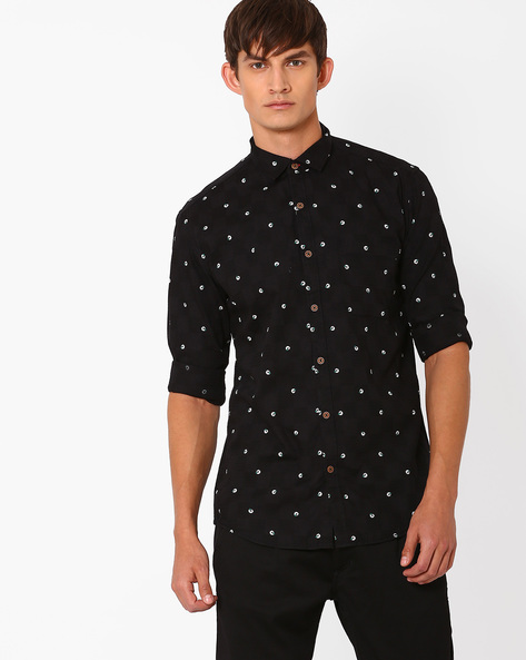 Printed Slim Fit Casual Shirt By Nature Casuals ( Black )