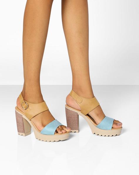 Chunky Heeled Sandals By AJIO ( Lightblue )